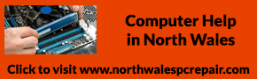 north wales computer repair. PC repair in the North Wales area - image shows our Esthetig blue logo with the words north wales computer repair underneath and a photo of someone installing memory to a motherboard, at the bottom is click for more information