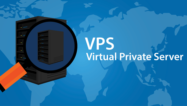 our VPS are a great opportunity to have all the control of a dedicated server at the price of shared hosting. Image shows a magnifying glass over a server, in the background is a map of the world in two tone blue, with the wording VPS virtual private server.